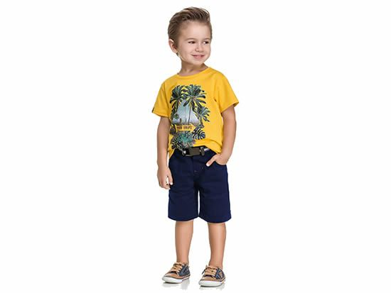 Bermuda infantil masculina em sarja Código: 27340 Fabricante: Quimby *Imagem meramente ilustrativa