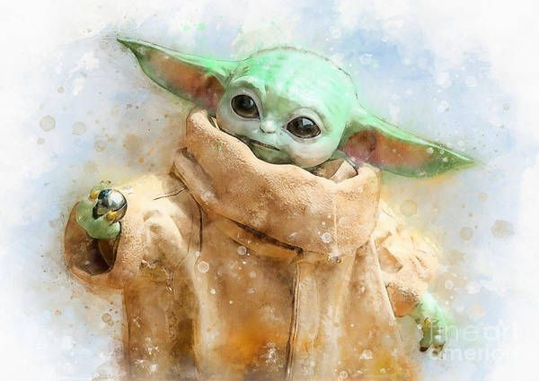 Grogu Baby Yoda With Metal Ball Watercolor Art Print By Waldek Dabrowski Watercolor Art Prints Watercolor Art Hallway Artwork