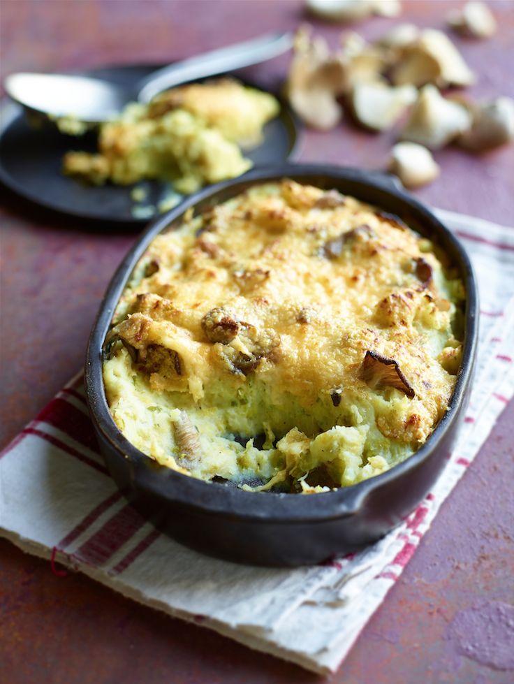 Een overheerlijke stoemp met oesterzwammen en spruitjes, gegratineerd met père joseph, die maak je met dit recept. Smakelijk!