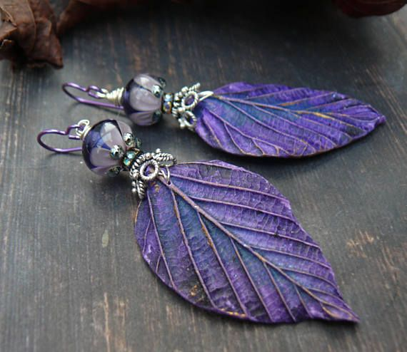 The deep rich glow of purple and the sparkle of fine silver. Perfect combination. And Ultra Violet - Pantone colour for 2018!   A lovely new addition to my Backhouse Collection. Helen Backhouse is an artist friend who has made these beautifully realistic polymer clay leaves for me to Pantone Ultra Violet