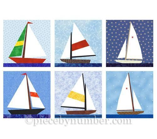 Looking for your next project? You're going to love Sailboat paper pieced quilt block set by designer PieceByNumber.