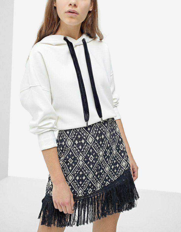 Fringe Jacquard Skirt - Skirts | Stradivarius Ukraine