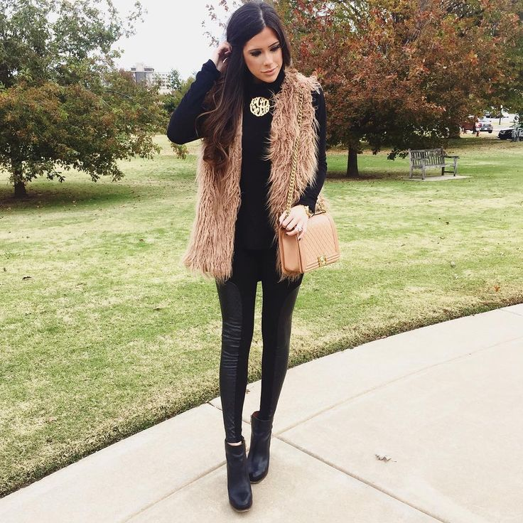 """All black with a faux fur vest, one of my go-to looks!  PS. This vest is marked down to like $35 right now! You can shop my outfit here:…"""