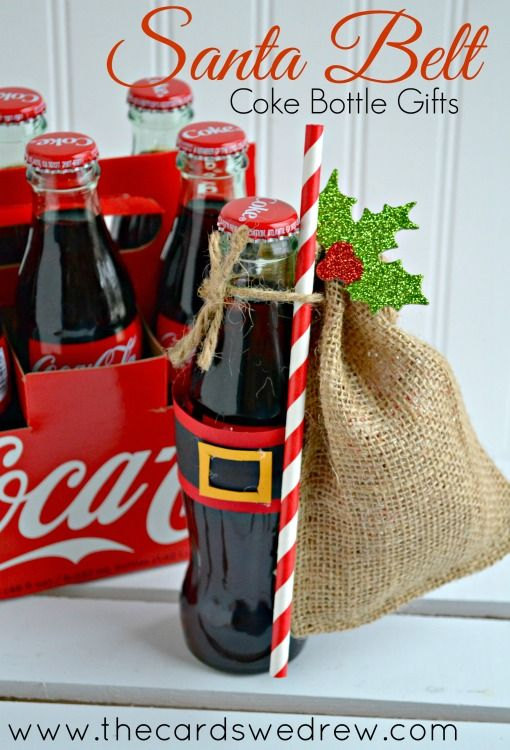 Santa Belt Coke Bottle Gifts -cute! Very cute Christmas idea for the grands, put their $ or gift card in the bag for 2015.
