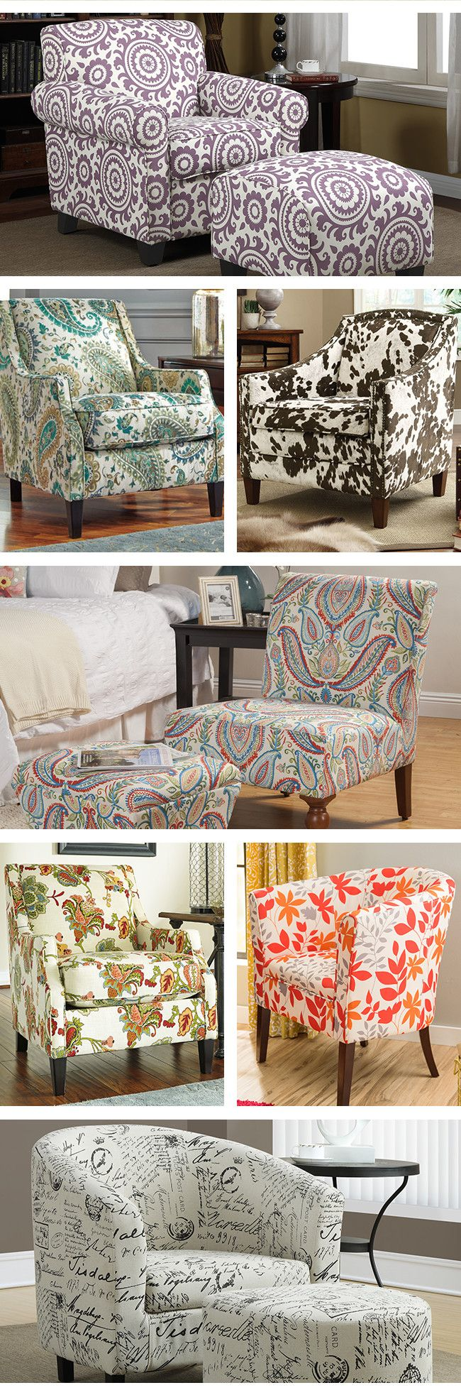 Accent chairs are an absolutely essential part of any living room. From flowing floral designs to classic chevron, these accent chairs will enliven any space. Visit Wayfair and sign up today to get access to exclusive deals everyday up to 70% off. Free shipping on all orders over $49.