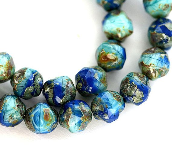 Blue Turquiose Picasso czech glass beads  navy blue by MayaHoney, $3.35
