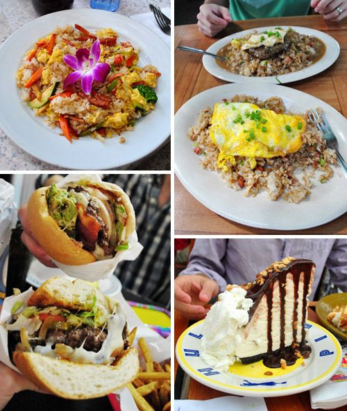 Food in Maui (fried rice breakfast from Lahaina Coolers, Loco Moco from Aloha Mixed Plate, burgers from Cool Cat Cafe, & Hula Pie from Kimo's)
