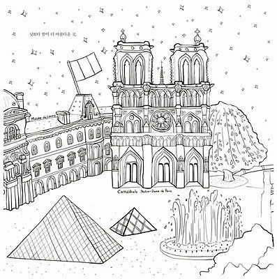Around The World Travel City Coloring Book For Adult Painting Anti Stress