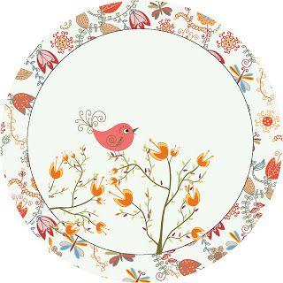 Jardim Encantado Passarinho Laranjado - Kit Completo com molduras para convites, rótulos para guloseimas, lembrancinhas e imagens! - Fazendo a Nossa Festa