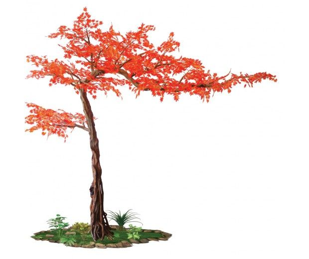 artificial red maple tree spacegreen indoors