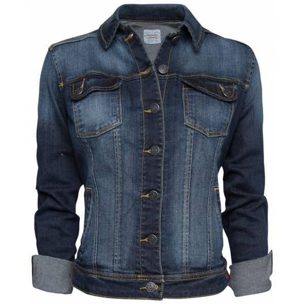 Mango Veste en jean bleu foncé found on Polyvore featuring polyvore, women's fashion, clothing, outerwear, jackets, tops and coats