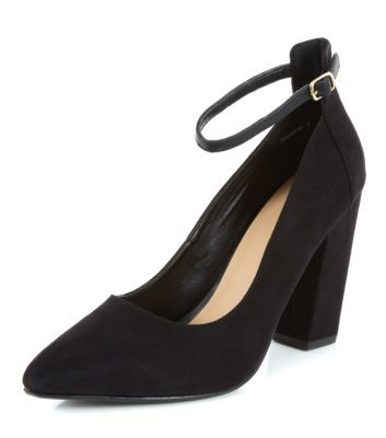 Black Ankle Strap Pointed Block Heels