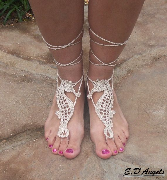 Barefoot Sandals Pattern SEAHORSE by LassCrochet on Etsy, $3.99