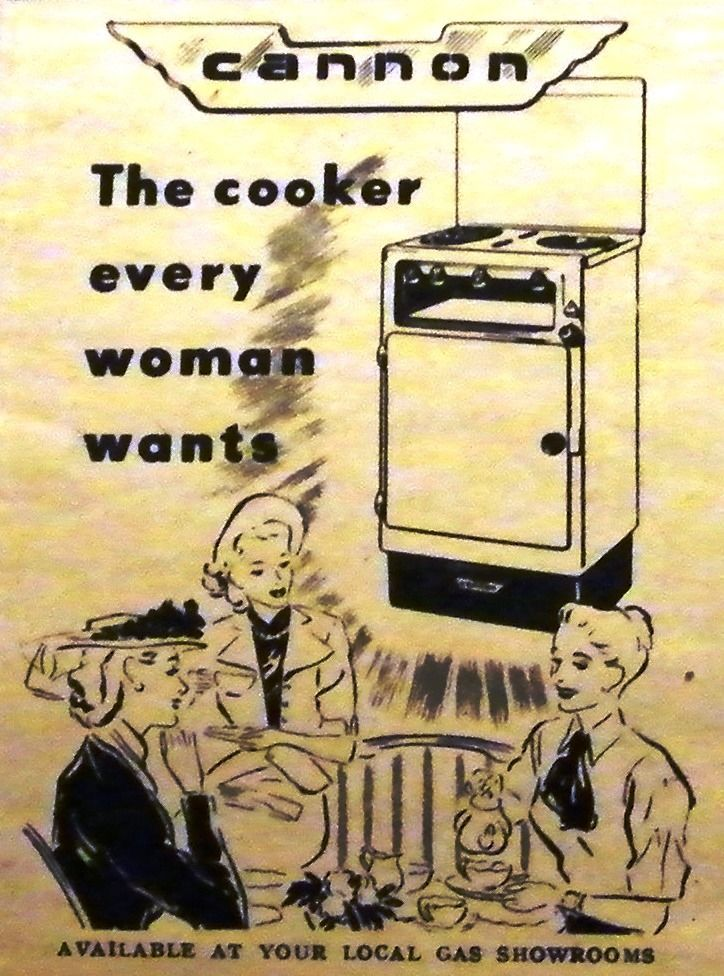Advert for Cannon gas cooker (1950s).