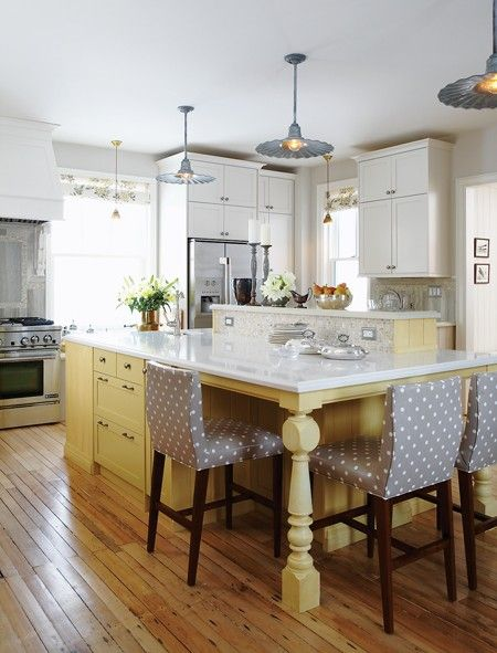 yellow: Sarah Richardson, Kitchens Design, Polka Dots, Color, Kitchens Islands, Yellow Islands, House, Bar Stools, White Cabinets