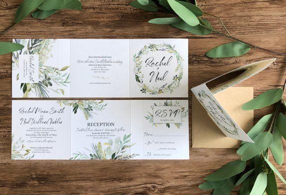 Greenery Wedding Invitations Tri Fold All In One Wedding Invitation E Eucalyptus Wedding Invitation Printing Wedding Invitations Wedding Invitations Rustic