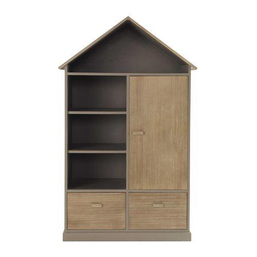 Guardaroba capanna bambino in legno talpa L 110 cm