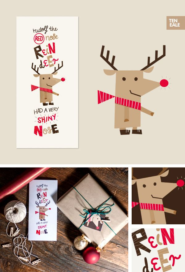 Christmas Friends by Teneale Smith, via Behance. Best Christmas Cards ever!
