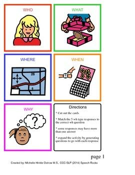 Assess your students comprehension of wh questions with this matching activity. Simply cut out the cards and have your student match the response to the appropriate wh type.  Included in this download:* Color Coded visual for each WH type (who, what, when, where, why)* 36 who response cards* 36 what response cards* 36 where response cards* 36 when response cards* 36 why response cards* 36 blank response cards