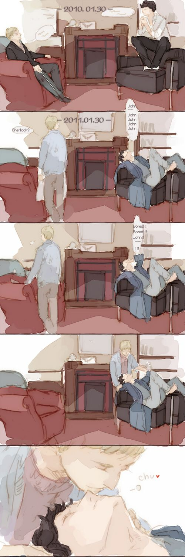 Sherlock and John - Kiss