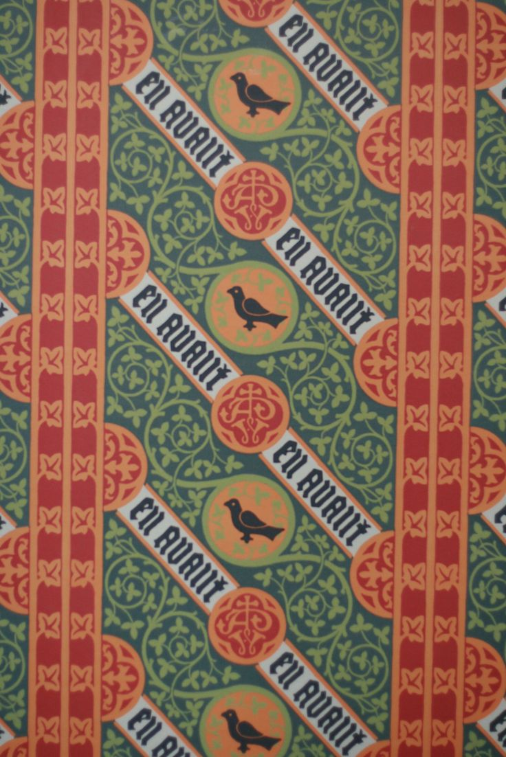 A vertical view of The Grange wallpaper, one of five designs Pugin created for his own home.