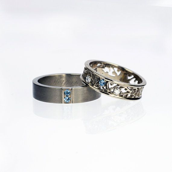 Titanium Wedding Band, Filigree Wedding Ring, White Gold, Aquamarine $1,859/Set of 2