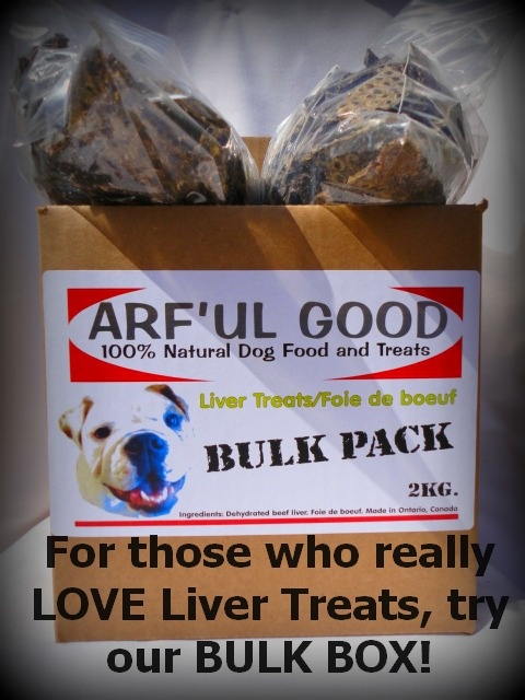 ARF'UL GOOD LIVER TREATS! FOR THOSE WHO REALLY LOVE OUR TERRIFIC TRAINING TREATS, TRY OUR LIVER TREATS BULK BOX! A 2kg PACKAGE FOR $77.99! www.arfulgood.com