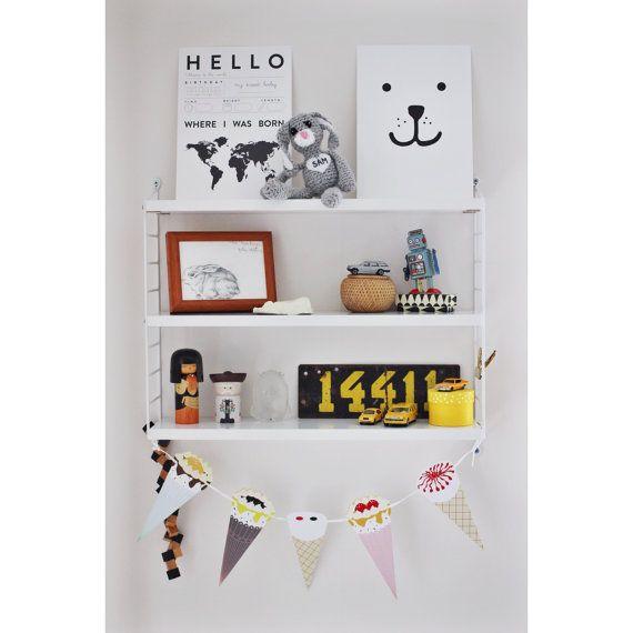 Nursery Illustration - Animal Print - teddy black, kids decor