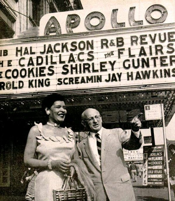 Billie Holiday with Apollo Theater owner Frank Shiffman.