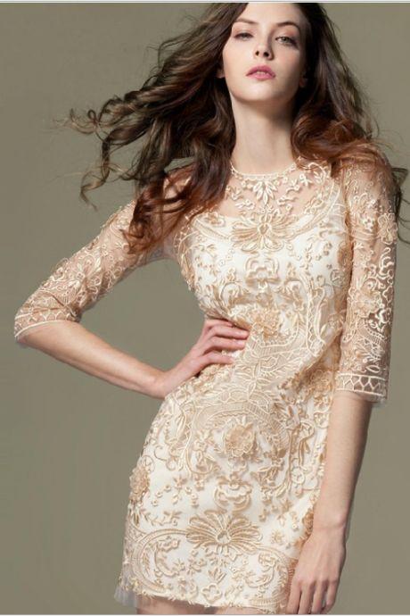 Bud Silk Organza Embroidery Dress