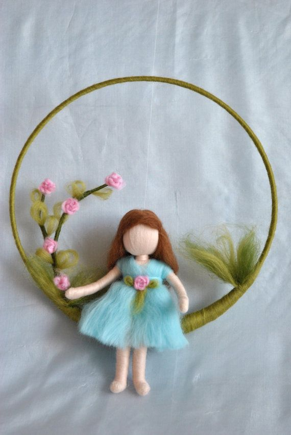 Waldorf inspired needle felted doll mobile