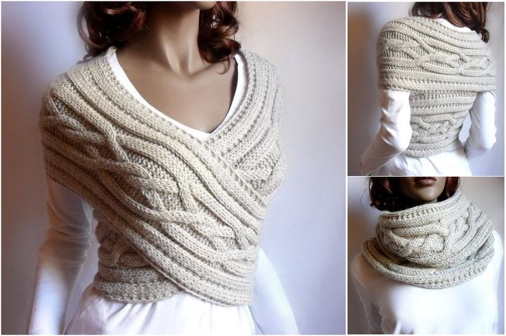 Pretty Knitted Sweater Cowl-Vest.It can be used in 2 ways. (y)  pattern and video--> http://wonderfuldiy.com/wonderful-diy-pretty-knitted-sweater-cowl-vest/