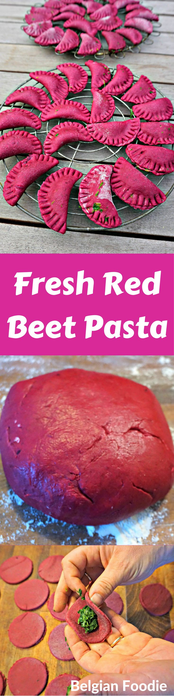 Homemade Fresh Red Beet Pasta for a tasty healthy meal fun to prepare with kids!