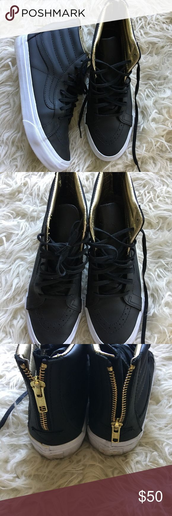 Like New Leather Vans Hi Top w. Gold Detail Sz 9 These are a men's 7.5 and women's 9.  They are in near new condition. They have great interior Gold Detail and also a gold zip up back for easy off and on. Vans Shoes Sneakers