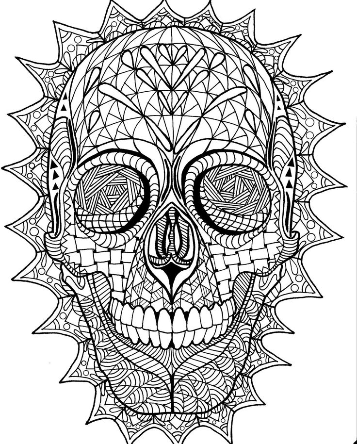 Coloring Page Zentangle Sugar Skull Digital Pdf Doodle Art Handmade