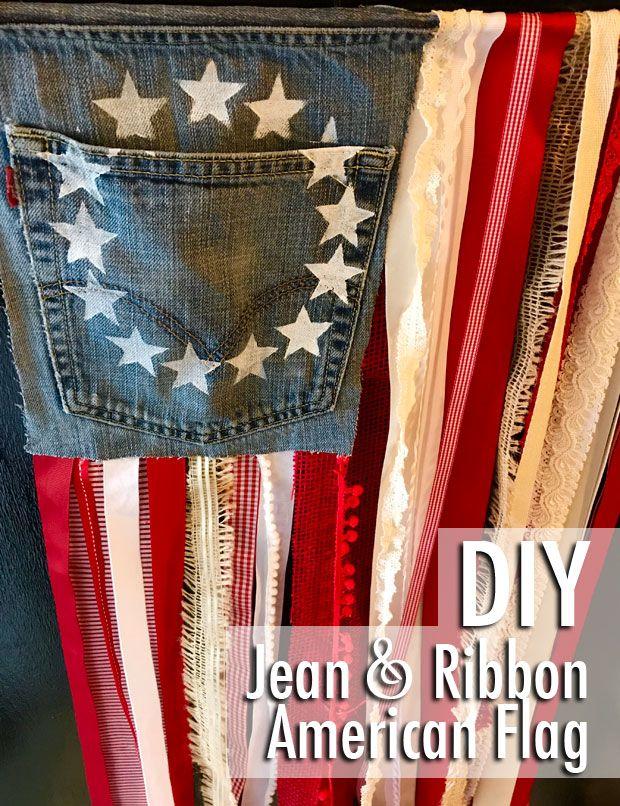 Simple DIY Jean Ribbon Rustic Flag 11 DIY Rustic A…