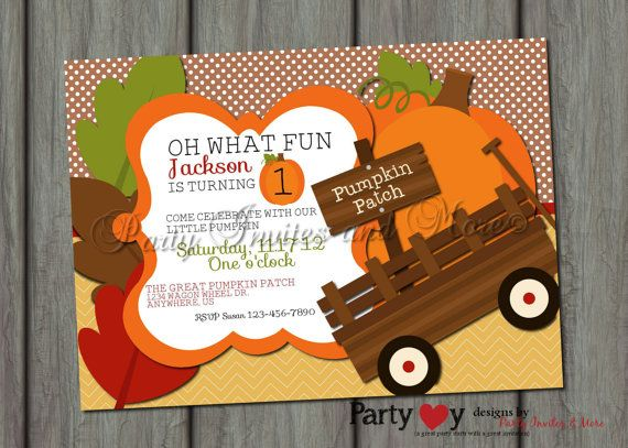 Pumpkin Patch Fall Birthday Invitation by PartyInvitesAndMore, $10.00