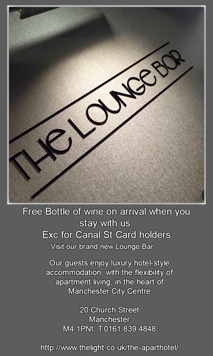 Brand new lounge bar opens tonight @TheLightMcr @CanalStCard partner so please drop by for a nosey?
