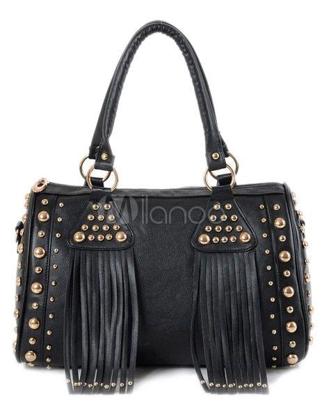 Saco de Tote moda franja preta em forma de travesseiro PU couro feminino - Milanoo.com