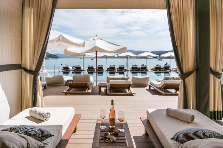 Private Beach Club at Schlosshotel Velden  #leadingsparesorts #beach #lake #beachclub #relax #velden #wörthersee #luxury #hotels