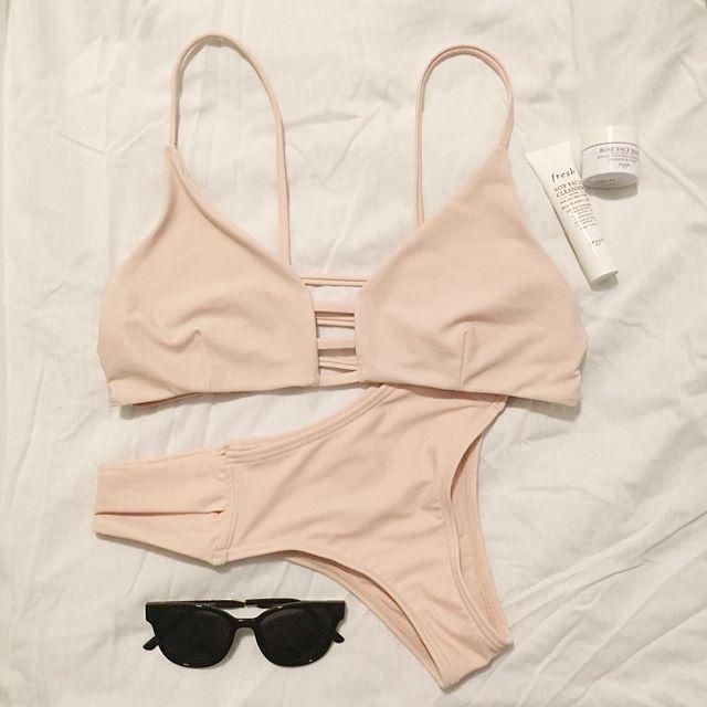 Neutral bikini + rose face mask ✔️ (First flat lay 👏🏼) #fashion #minimal #style #bikini #outfit #spring #summer #cute #neutral #sunglasses