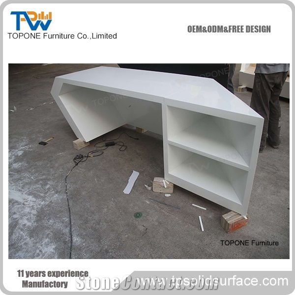 Artificial Marble Stone White and Black Color Office Reception Desk Tops, White Color Corian Acrylic Solid Surface Recpetion Counter Tops with Interior Stone Office Desk Tops Furniture - Topone Furniture Co., Ltd