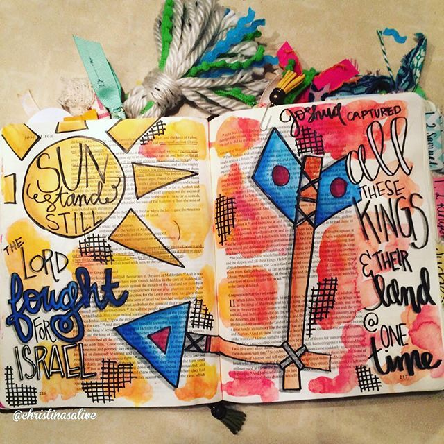 Bible Journaling by Christina Lowery @christinasalive | Joshua 10
