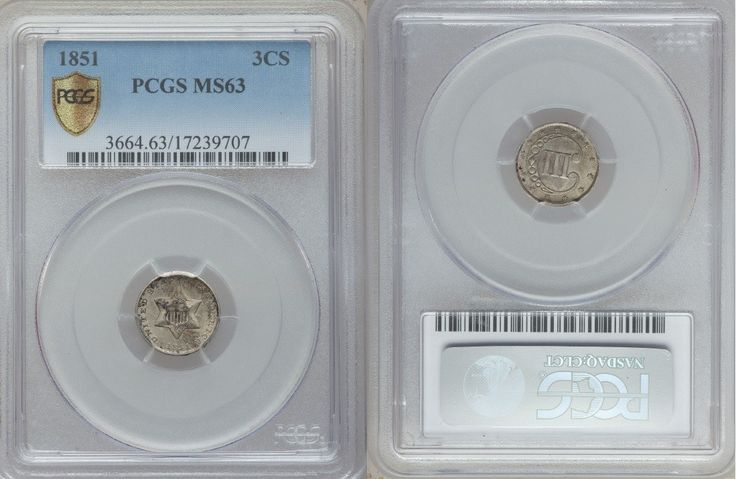 Superb 1851 Three Cent Uncirculated Silver Coin Graded MS63 by PCGS