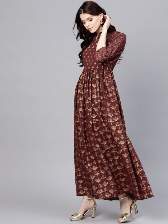 e588804c802 AKS Women Maroon   Golden Printed Maxi Dress -
