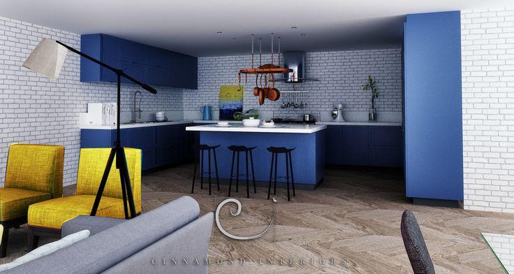 Kitchen with a pop of colour #kitchen#cinnamond-interiors www.cinnamond-interiors.co.za