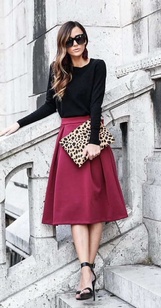 #winter #outfits black long-sleeved shirt and maroon skirt