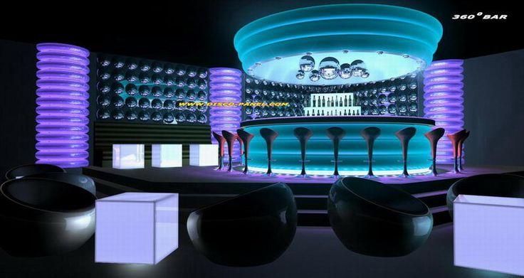 Sleek round modern bar and mood lighting