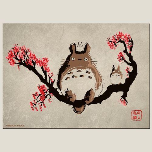 dessin totoro, affiche Miyazaki, t-shirt, parodie,boutique