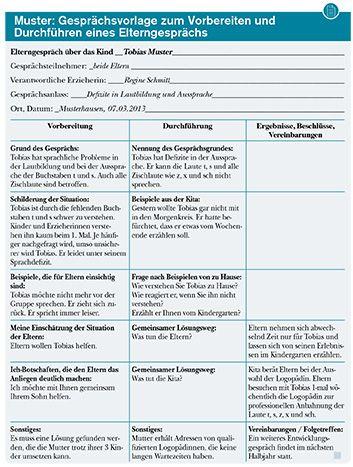 Elterngespräch Kindergarten Fragebogen